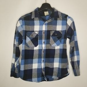 Faded Glory Blue Plaid Button Down Shirt